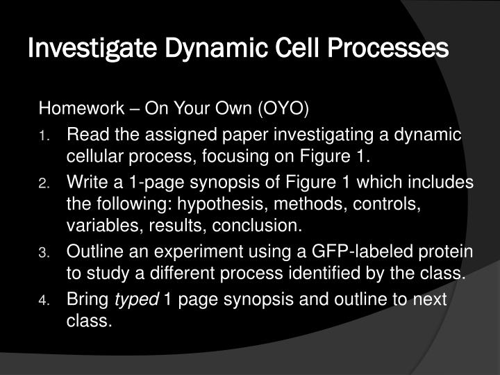 Investigate Dynamic Cell Processes