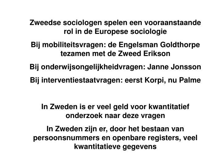 Zweedse sociologen spelen een vooraanstaande rol in de Europese sociologie