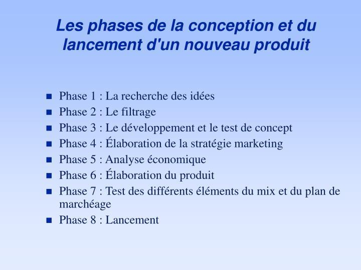Les phases de la conception et du lancement d'un nouveau produit