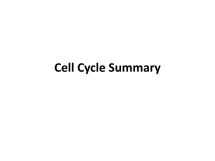 Cell Cycle Summary
