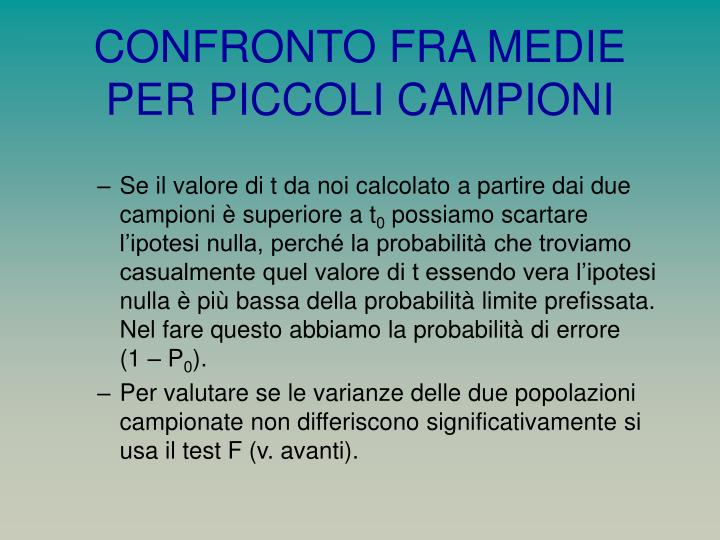 CONFRONTO FRA MEDIE