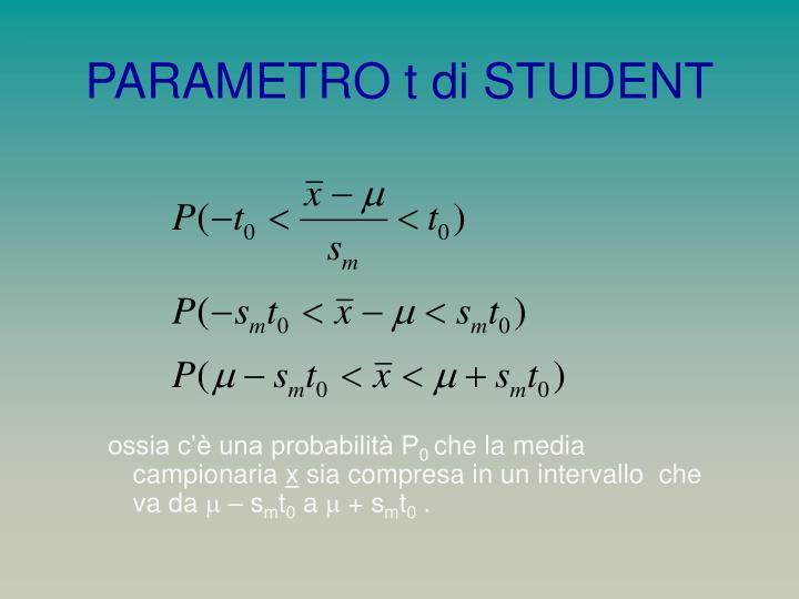PARAMETRO t di STUDENT