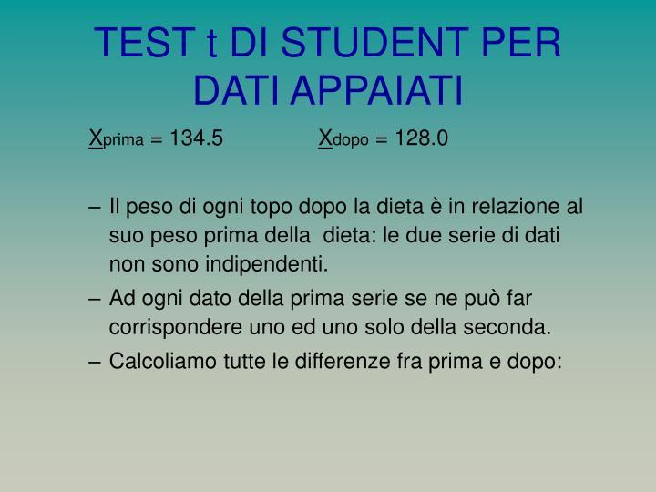 TEST t DI STUDENT PER DATI APPAIATI