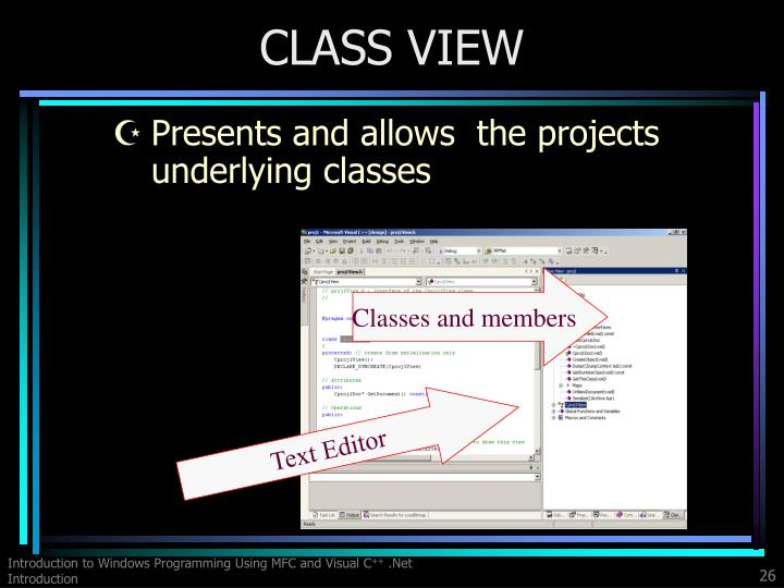 Presents and allows  the projects underlying classes
