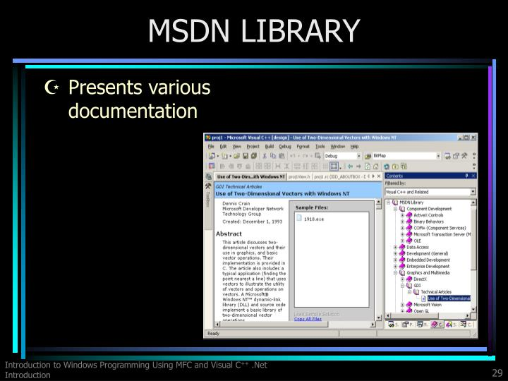 MSDN LIBRARY