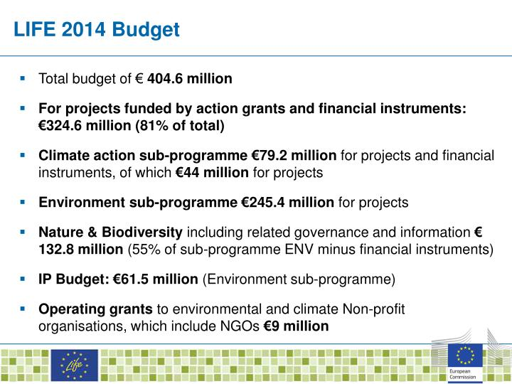 LIFE 2014 Budget