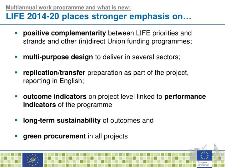 Multiannual work programme and what is new: