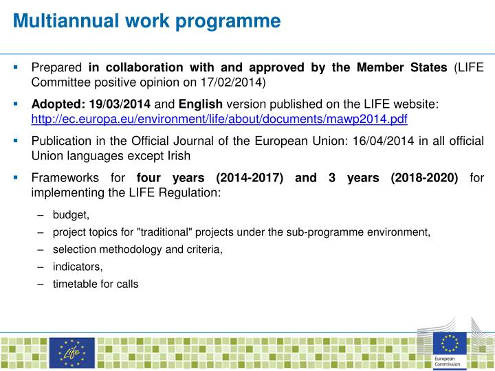 Multiannual work programme