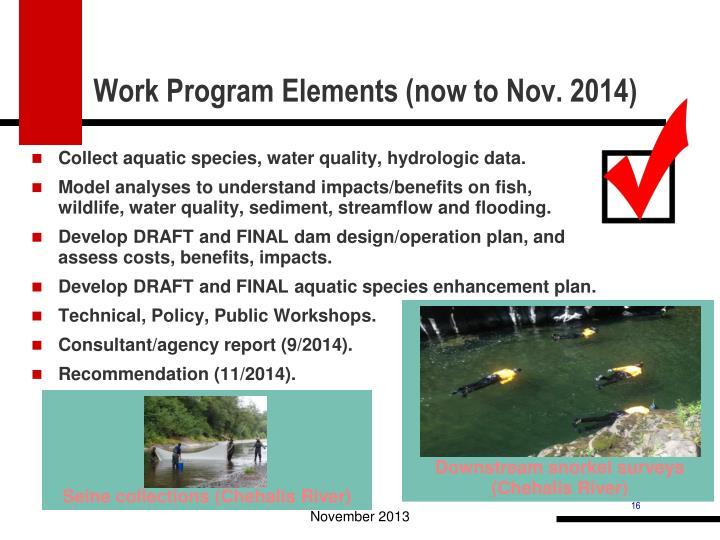 Work Program Elements (now to Nov. 2014)