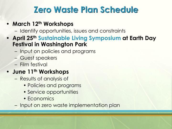Zero Waste Plan Schedule