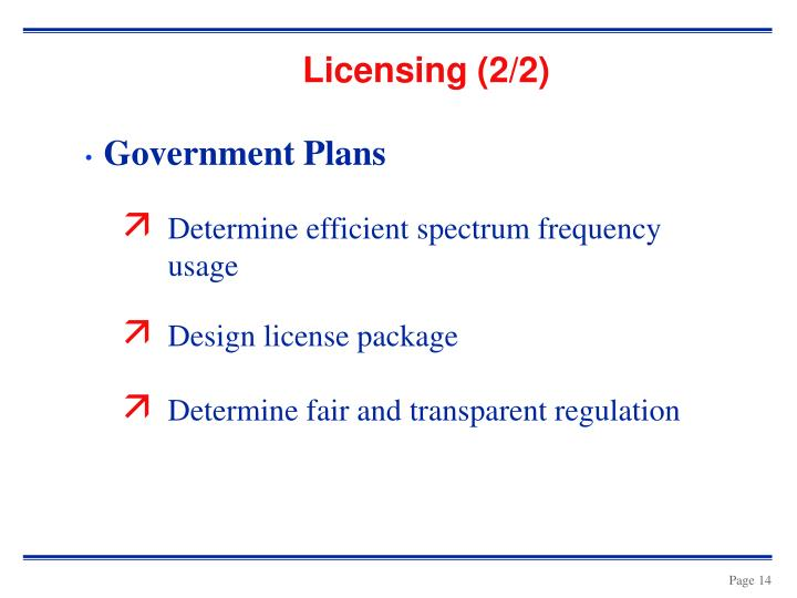 Licensing (2/2)