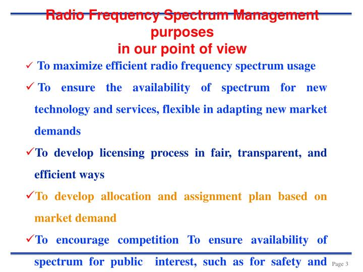 Radio frequency spectrum management purposes in our point of view