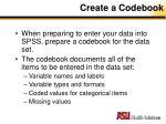 create a codebook