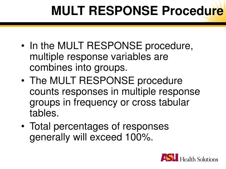MULT RESPONSE Procedure