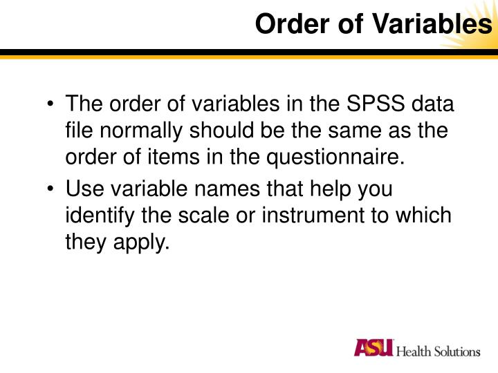 Order of Variables