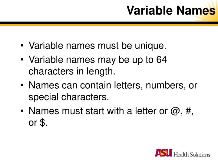 Variable Names