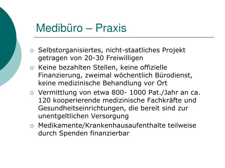 Medibüro – Praxis
