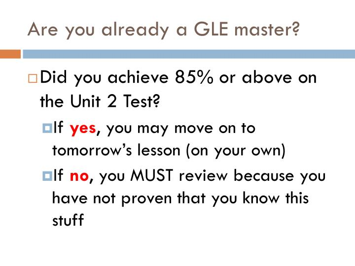 Are you already a GLE master?
