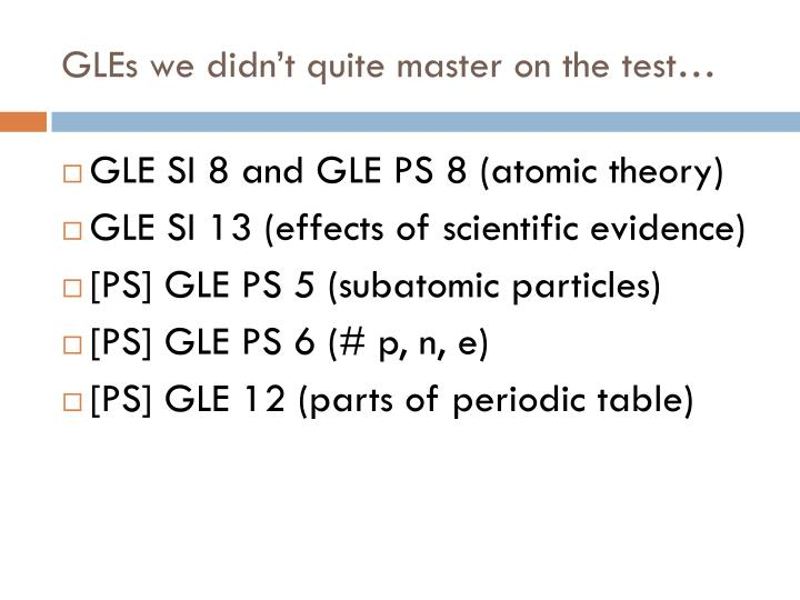 GLEs we didn't quite master on the test…
