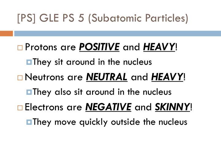 [PS] GLE PS 5 (Subatomic Particles)