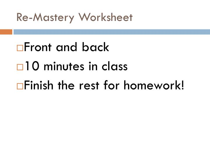 Re-Mastery Worksheet