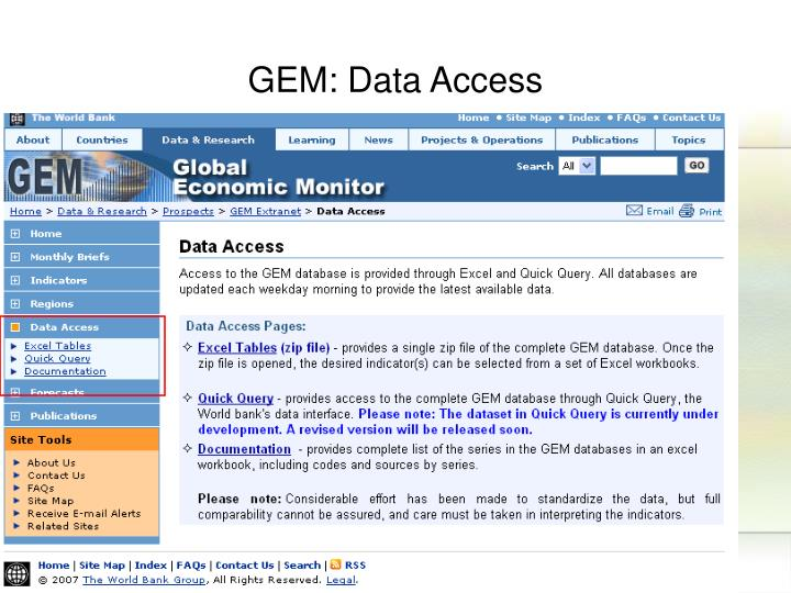 GEM: Data Access