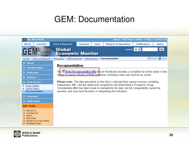 GEM: Documentation