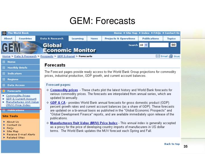 GEM: Forecasts