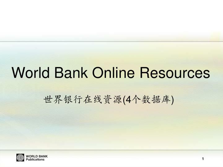 World Bank Online Resources