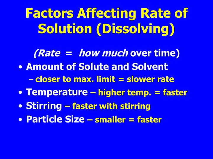 factors that affect rate of dissolving Investigating the factors that affect the rate of dissoiving a) the size of the solute particles o problem statement - does the size of the solute particles affect the rate of dissolving.