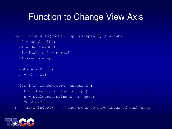 Function to Change View Axis
