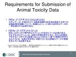 requirements for submission of animal toxicity data