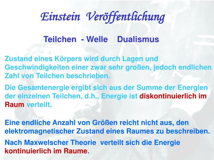 Einstein  Veröffentlichung