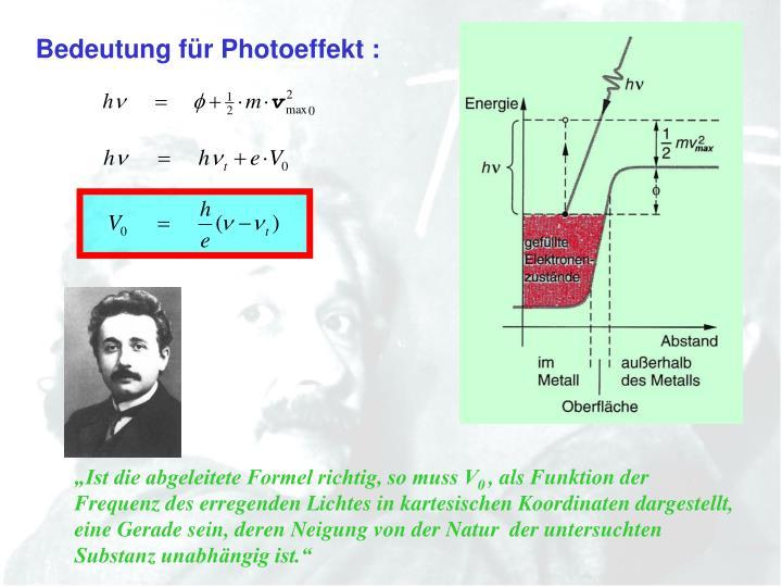 Bedeutung für Photoeffekt :