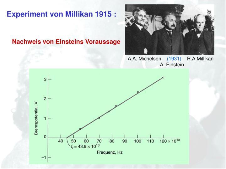 Experiment von Millikan 1915 :