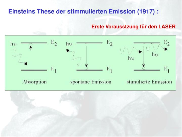 Einsteins These der stimmulierten Emission (1917) :