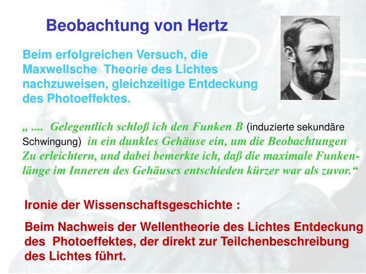 Beobachtung von Hertz