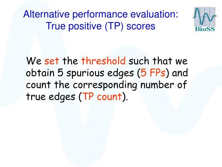 Alternative performance evaluation:   True positive (TP) scores