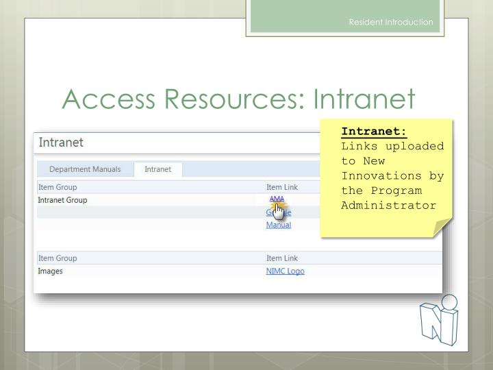 Access Resources: Intranet