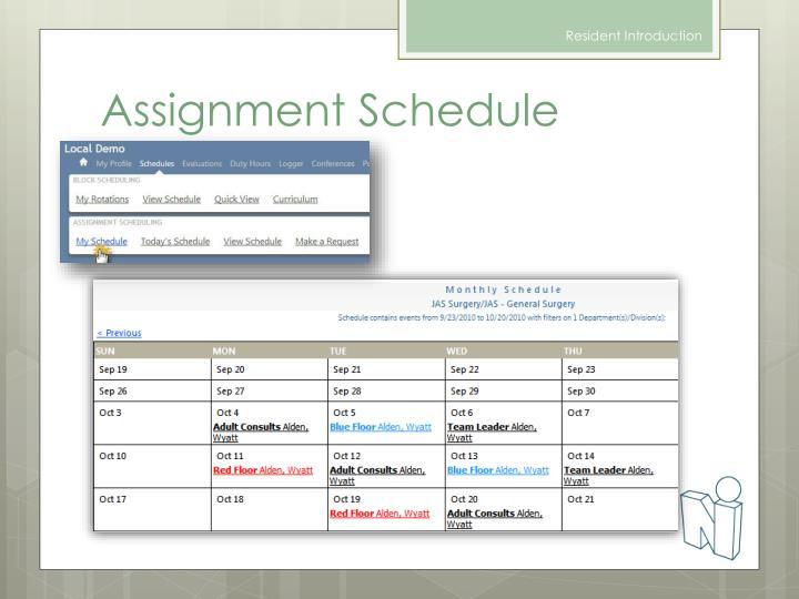Assignment Schedule