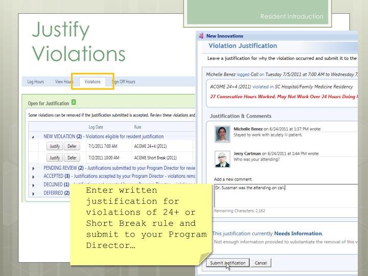 Justify Violations