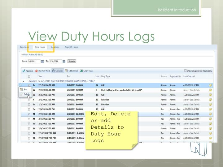 View Duty Hours Logs