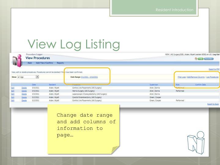View Log Listing