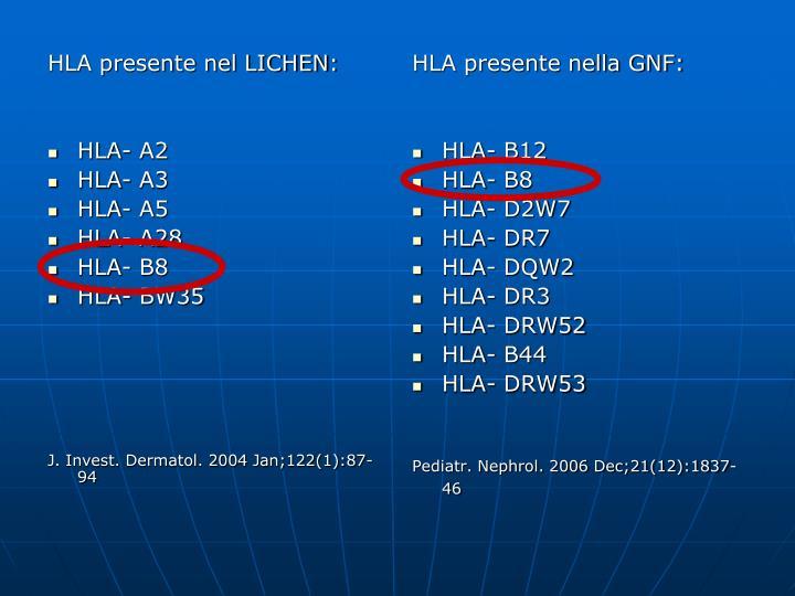 HLA presente nel LICHEN: