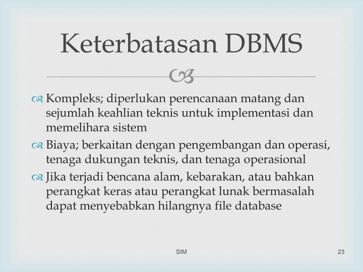Keterbatasan DBMS