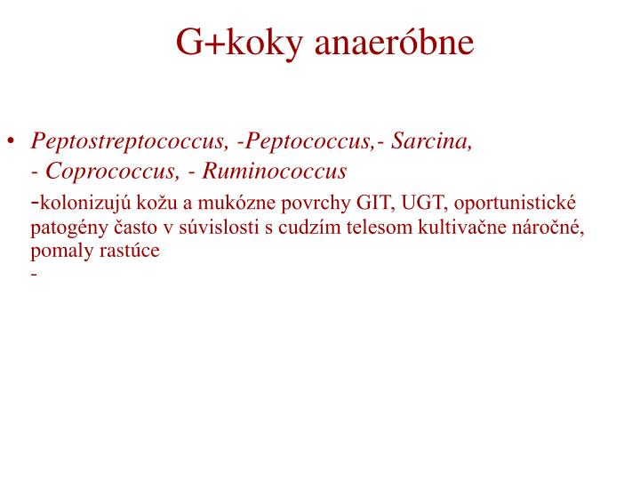 G+koky anaeróbne