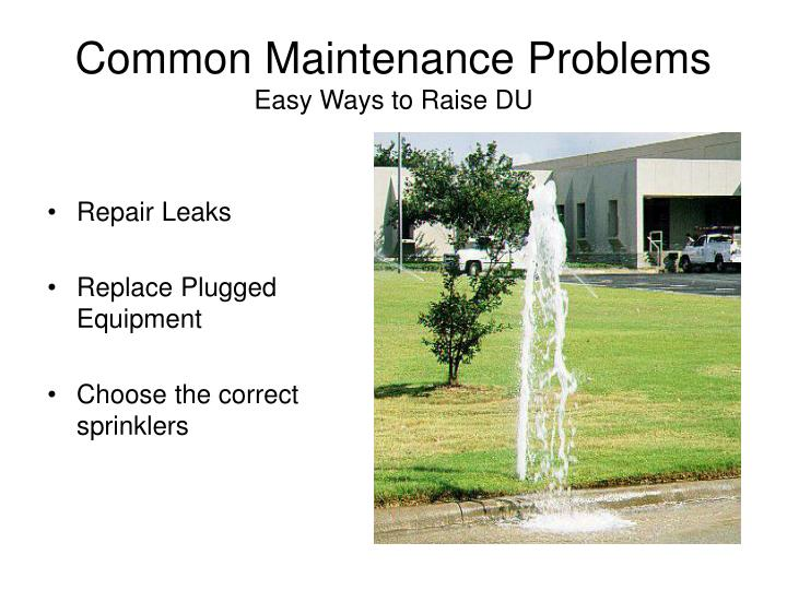 Common Maintenance Problems