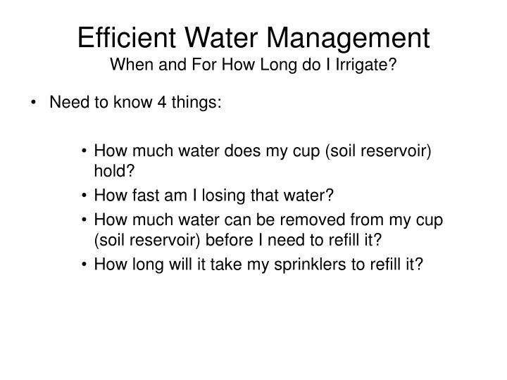 Efficient Water Management