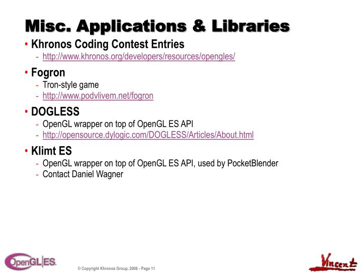 Misc. Applications & Libraries