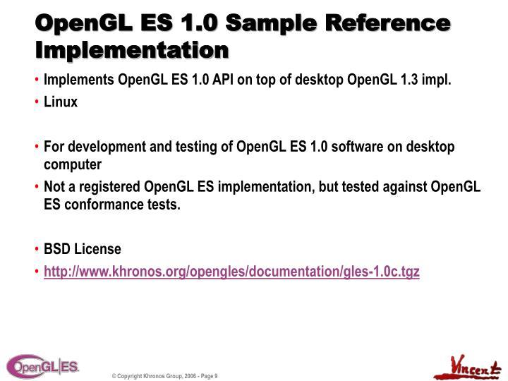 OpenGL ES 1.0 Sample Reference Implementation